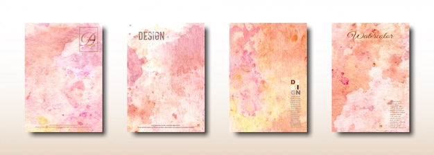 オレンジとピンクの水彩手描きコレクション