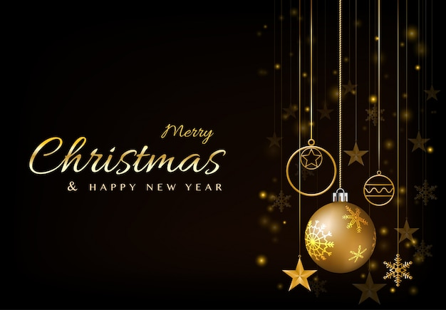 メリークリスマスと新年あけましておめでとうございますグリーティングカードデザインボール輝く金色に輝く