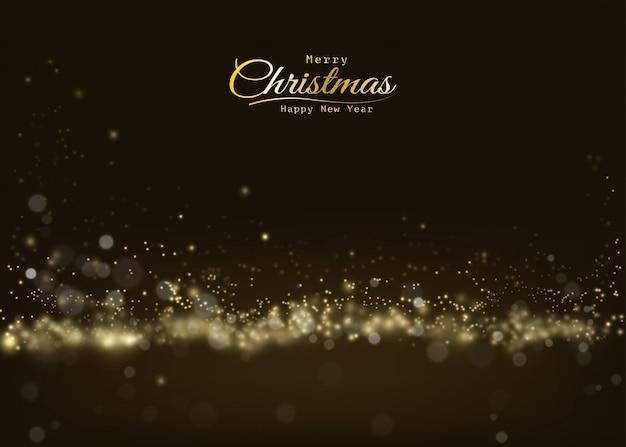 С рождеством сверкающий золотой свет боке, сверкающий роскошь