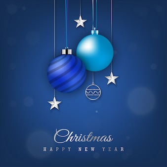 Синий рождественский баннер с висящим новогодним шаром