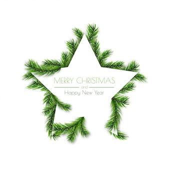クリスマスの松の枝を持つ装飾的な星