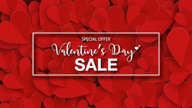 Распродажа баннеров на день святого валентина с красным сердцем