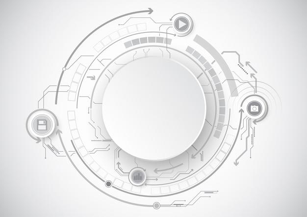 グレーサークル回路アイコン技術