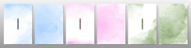 柔らかい明るい水彩画背景のセット