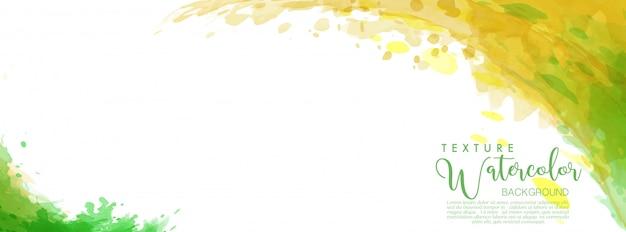 スプラッシュ水彩画の緑と黄色の表面