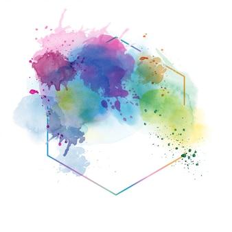 多角形フレームと明るい色の抽象的な水彩画の背景