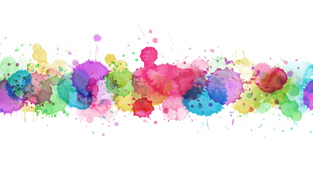 色とりどりのスプラッシュ水彩しみとモダンなテンプレートデザイン