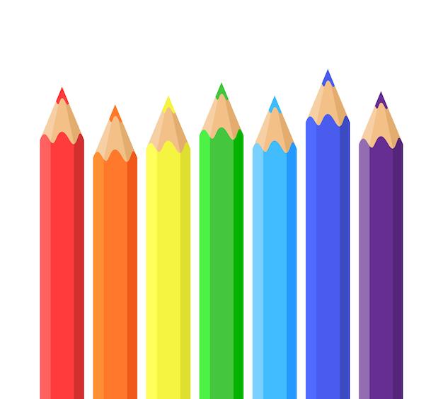 色鉛筆の虹。鉛筆のベクトルイラスト