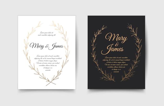手描きの月桂樹の花輪を持つ結婚式の招待状のセット。ビンテージデザイン。ベクトルイラスト