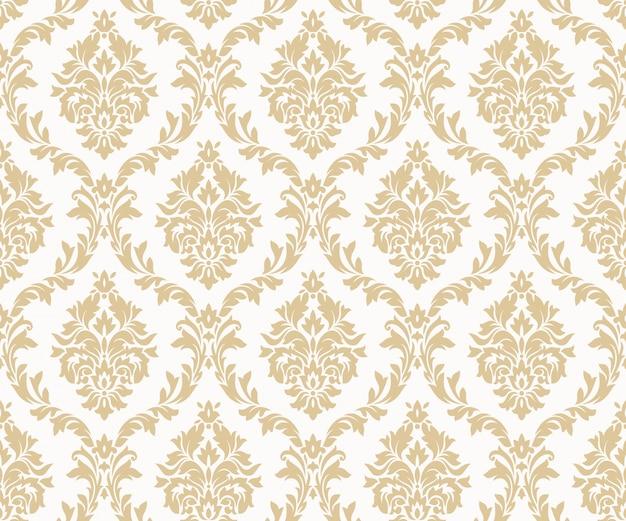 ベクターのシームレスなダマスク織金パターン。豊かな飾り、古いダマスカススタイルのゴールドのパターン
