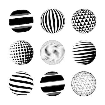 Набор из черной абстрактной сферы