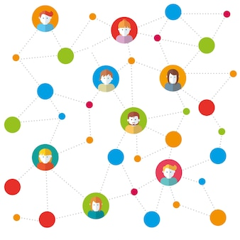 Команда в социальных сетях, работающих в векторной иллюстрации
