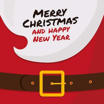 Борода санта-клауса с «веселого рождества и счастливого нового года»