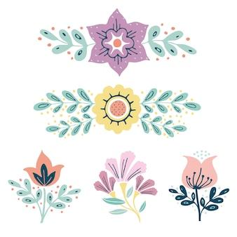 ベクトルリース、ハーブと花のセット