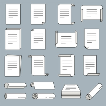 Значок бумаги установлен в тонком стиле. векторные иллюстрации.