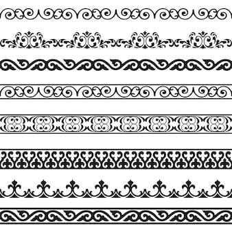 Декоративные бесшовные бордюры старинных элементов дизайна