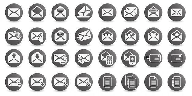 Установите значок электронной почты векторный логотип иллюстрации дизайн