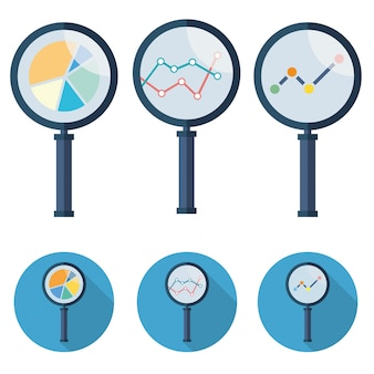 Аналитические векторные иконки увеличительное стекло установить символ