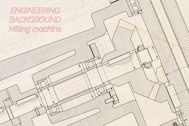 Чертежи машиностроения фрезерный станок шпинделя. технический дизайн.