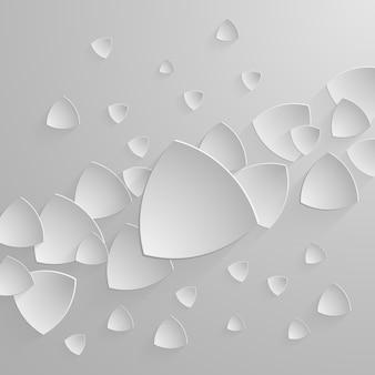ドロップシャドウと抽象的な三角形の背景に紙のバナー