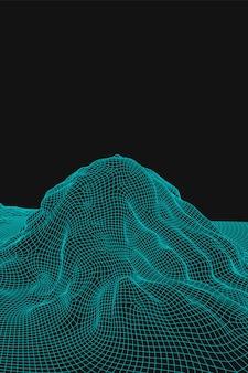 青の抽象的なベクトルワイヤフレーム風景の背景