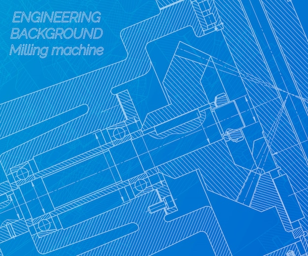 青い背景上の機械工学図面。フライス盤主軸テクニカルデザイン