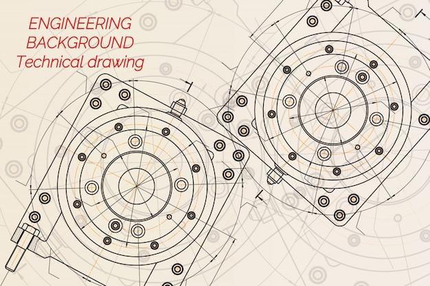 明るい背景上の機械工学図面。フライス盤主軸テクニカルデザイン青写真。ベクトルイラスト