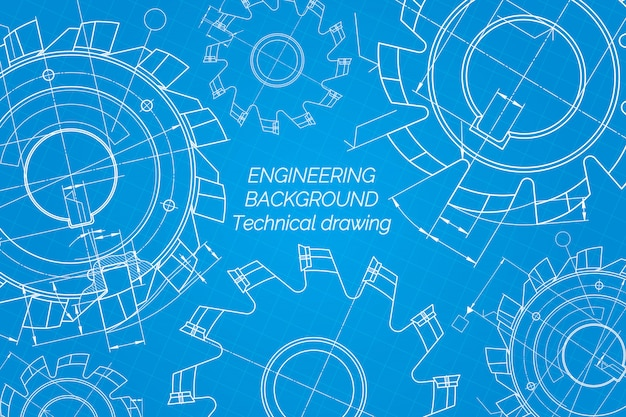 青い背景上の機械工学図面。切削工具、フライスカッター。テクニカルデザイン青写真。ベクトルイラスト