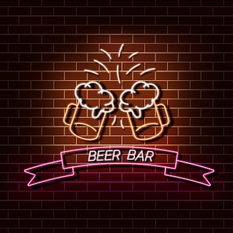 Пивной бар неоновый свет баннер на кирпичной стене. оранжевый и розовый знак. декоративные реалистичные ретро элемент для веб-дизайна векторные иллюстрации.