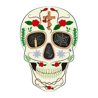 Традиционный сахарный череп. элемент дизайна для дня мертвых