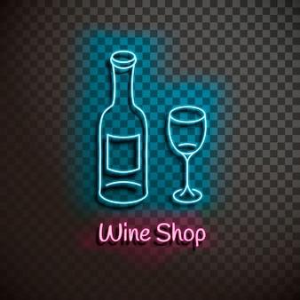 Винный магазин. неоновый синий знак