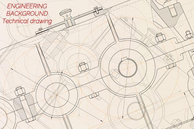 明るい背景上の機械工学図面。レデューサー。