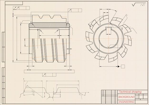 Чертежи машиностроения на бежевом фоне технической бумаги. режущие инструменты, фрезы.