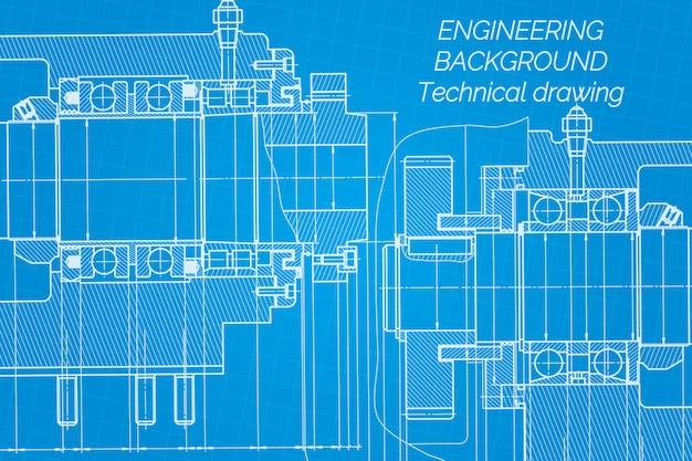 機械工学図面の青写真。