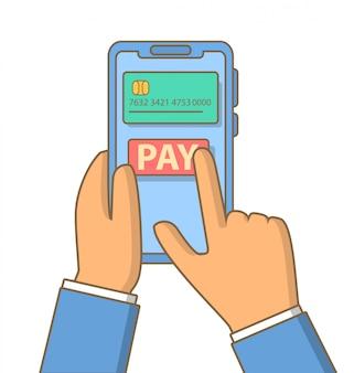 オンラインおよびモバイル決済の手は、スマートフォンを保持しています。