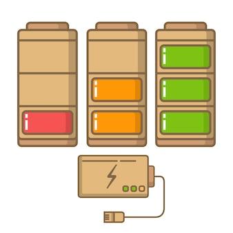 放電および充電されたバッテリー。