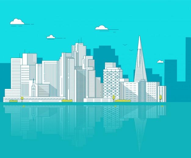 Сан-франциско - центр города с небоскребами зданий.