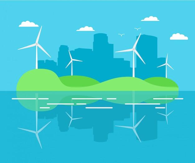 風力発電機のタービンからの都市発電所。