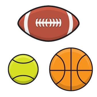 Установите мяч для баскетбола, тенниса, регби в плоском стиле.