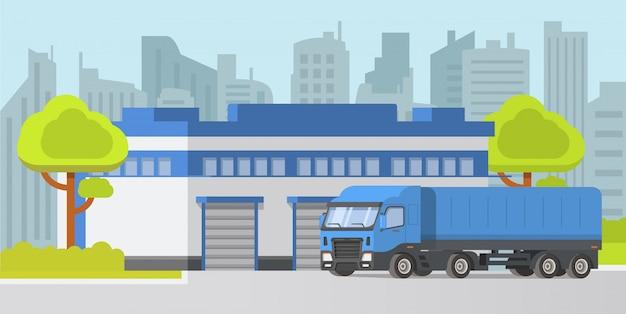 倉庫建物のセミトレーラートラックロードカー。