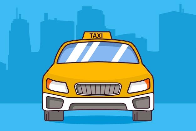 Желтое такси, автомобиль вид спереди плоский стиль.