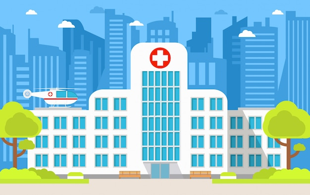 Городская больница, здание скорой медицинской помощи вертолетом.