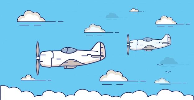 プロペラを持つ軍用機の戦闘機は、雲と空を飛ぶ。
