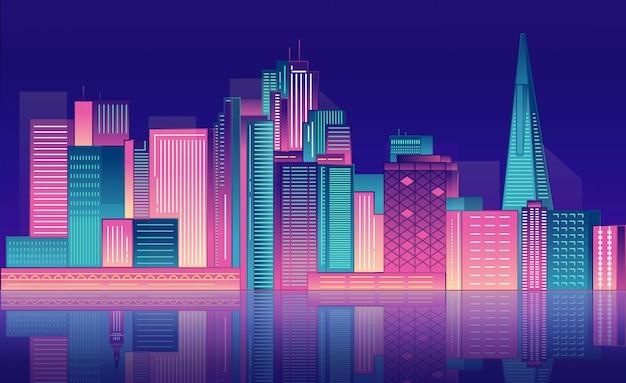 Неоновые ночные городские небоскребы.