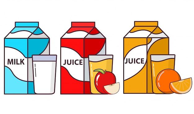 パッケージミルク、オレンジフルーツ、アップルジュースコップ一杯。