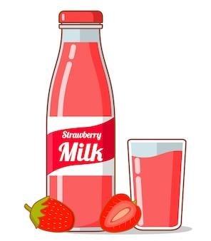 Клубничный молочный молочный коктейль фруктовая ягода.