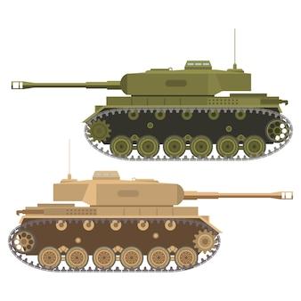 Военный танк с ружьем плоский.