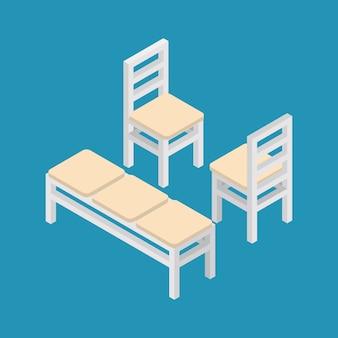 Набор изометрической мебели скамейке и стульев.