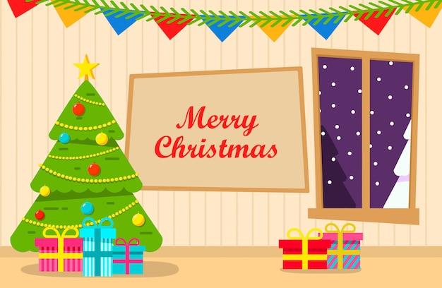 Рождественская елка интерьер украшен гостиной с подарками. счастливый новый год с шарами, игрушками.