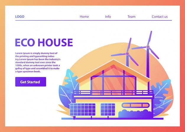 Зеленая энергия экологически чистый пригородный американский дом. солнечные панели, энергия ветра турбины. семейный фасад дома. возобновляемые источники энергии.